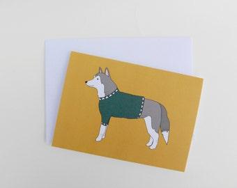 Husky - Dog Card - Blank