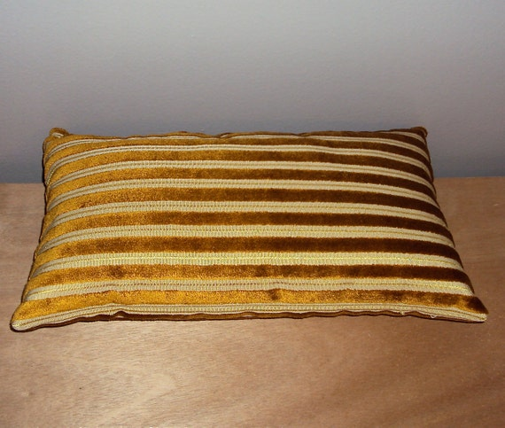 Sale 16x9 Burnished Gold Velvet Stripe Lumbar Pillow Cover