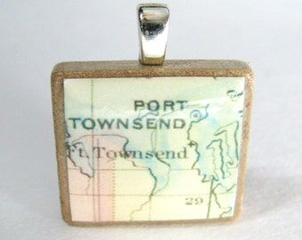 Port Townsend, Washington - Scrabble tile pendant or charm made from vintage 1874 map