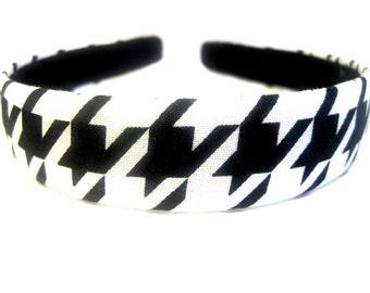 Black White Houndstooth Headband One Inch