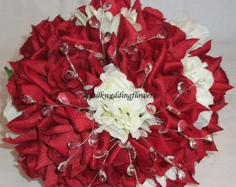 Wedding Bouquet Apple Red Silk Red Roses White Hydrangeas Daisies Crystals Silk Wedding