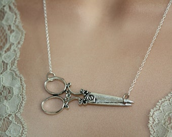 Scissors Necklace - Hair Stylist gift - Antiqued Silver -sterling silver filled chain,