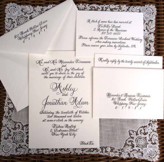 hand-lettered calligraphy invitations