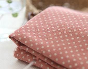 A Yard of Dots on Murky Pink Linen Blended WIDE 145cm, U7038