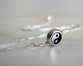 Silver Yin Yang Charm Necklace, Sterling Silver, Black and White, Simple Necklace, Yin Yang Charm Necklace - Two Halves