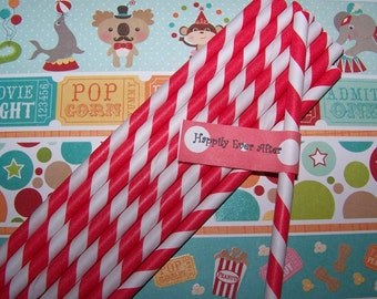 """Paper Striped straws in pretty Red/white Stripe 50 Straws Included are """"free straws flag toppers""""."""