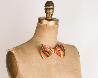 Mens Bowtie - Vintage Bow Tie - Mustard Yellow Red & Brown Stripes