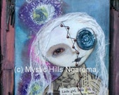 Where have you been  Mixed Media Art Original Painting - Steampunk - Collage - Goth Girl