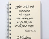 Angel Journal Notebook Diary Sketch Book - Psalm 91:11 - Personalized With Your Name - Small Notebook 5.5 x 4.25 Inches - Ivory