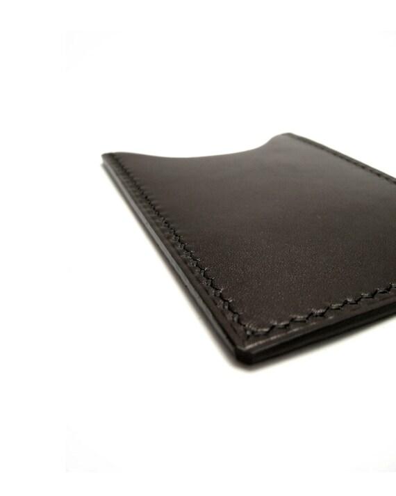 Black Calf Leather Vertical Card Case - Wallet  - Sleeve - ID metro debit credit card holder