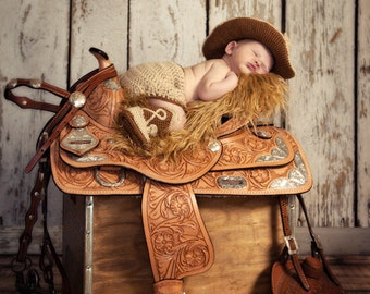 Baby Cowboy Prop - Cowboy Baby Gift - 1st Cowboy Outfit - Crochet Baby Sheriff - Cowboy Baby Clothes - Newborn Cowboy Prop - Photo Prop