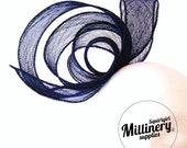 Hand Rolled Sinamay Ribbon Sash for Millinery, Hat Trimming & Fascinators Navy Blue
