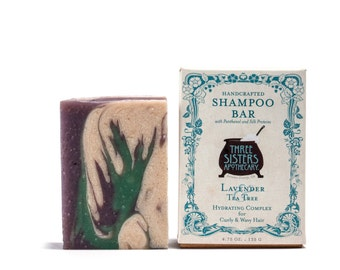 Lavender & Tea Tree Shampoo Bar - 4.75 oz. - Hydration Formula for Curly/Wavy Hair