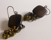 earrings - wooden square and brass chain