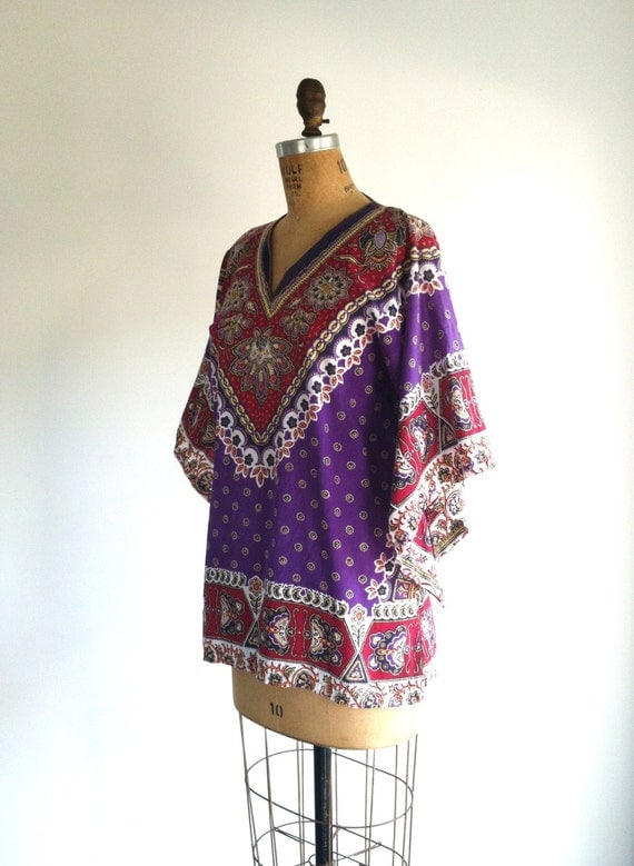 70s Boho Dashiki Caftan Top Purple Bell Sleeve Tunic Ethnic Blouse