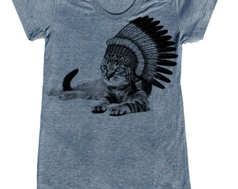 CAT INDIAN lady t shirt -- American printed apparel  S M L XL and plus size options skip n whistle