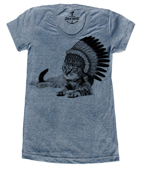 Cat Indian Lady T Shirt American Printed Apparel S M L Xl
