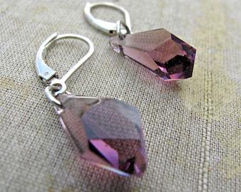 SALE 25% DISCOUNT...Amethyst Swarovski Polygon Drop Earrings by Courtney Lee Designs-Sterling Silver