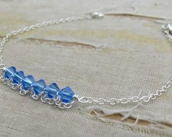 September Birthstone Bracelet---Sarah Bracelet-Mother's Day Bracelet- September Birthstone-Sterling Silver shown in Sapphire