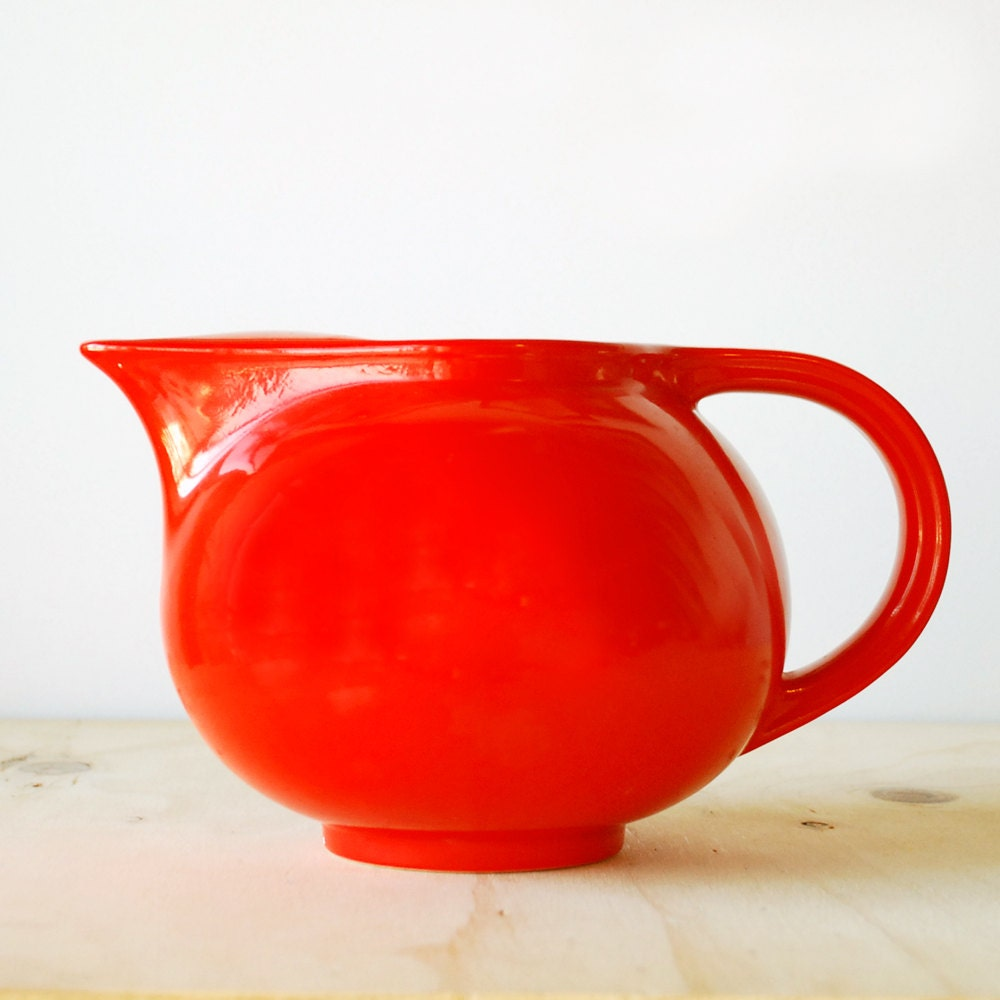 Vintage red pitcher on Etsy