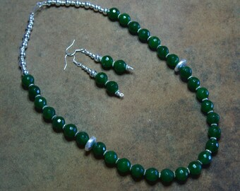 Facated 10mm Emerald Gemstones and .925 Sterling Silver Necklace and Earrings