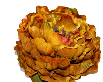 1 Jumbo Rusty Mustard Peony - Boutique Quality - Artificial Silk Flower