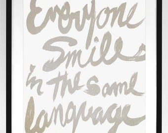 Everyone Smiles / George Carlin quote - 8x10 Art Print / Inspirational typographic illustration (multiple color options)