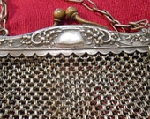 Victorian German Silver Mesh Purse William Henry Sparrow WHS Strap Lady