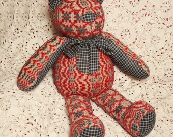 Cheerful Teddy Bear Handmade from a 19th Century Overshot Coverlet and Antique Homespun