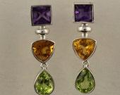 Sterling Silver Earrings set with Amethyst, Citrine and Peridot