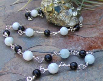 Schorl, Black Tourmaline & White Agate Wire Wrapped Necklace