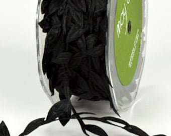 Leaf Satin Ribbon - Black - 1 inch  - You Choose Yards