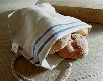 Linen bread bag- blue