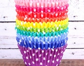 Rainbow Polka Dot Cupcake Liners - 10 Fun Colors (120 count - 12 each color)