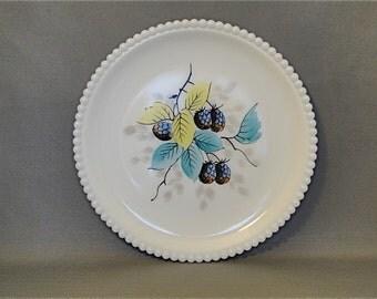 Vintage Westmoreland Milk Glass Hobnail Plate Fruit Motif Blackberries