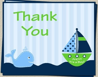 Nautical, Thank You Cards, Baby Shower, Ahoy Its a Boy, Whale, Anchor, Stripes, Green, Sailboat, Free Shipping, AIBGW, 24 Folding Notes