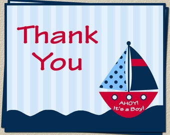 Nautical, Thank You Cards, Baby Shower, Ahoy Its a Boy, Boating, Anchor, Stripes, Red, Sailboat, Free Shipping, AIBRC, 24 Folding Notes