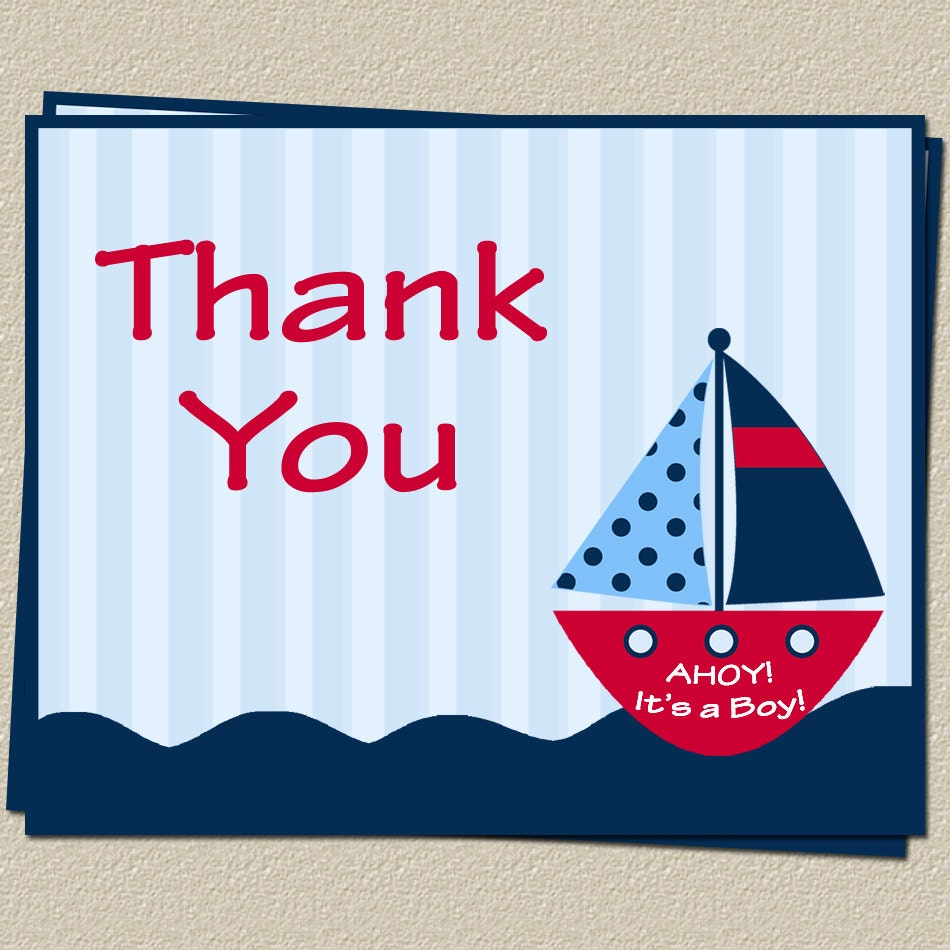 Nautical Thank You Cards Baby Shower Ahoy Its a Boy