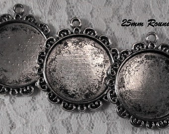 25mm Round - Antique Silver - Alloy Setting - 'Sunny III' - 3 pcs : sku 12.02.12.3 - T21