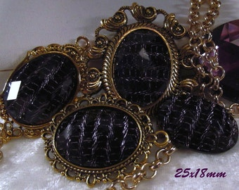 25x18mm - Black/Lavender Fashion Cabochon - 3 pcs : sku 01.26.13.8 - F6