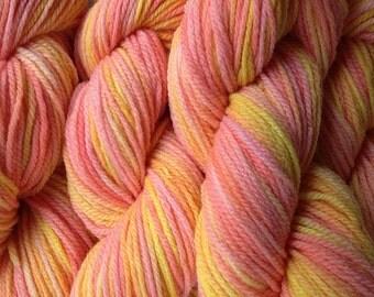 Orange Yellow Merino Wool Yarn DK Sport Weight Handpainted Hand Dyed in Spring Melon