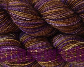 Fingering Weight Handpainted Sock Yarn in Mocha Bean Superwash Variegated Yarn Purple Brown