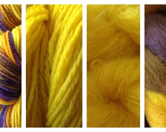 Hand Dyed Samples of Merino Wool DK Sport Weight Yarn in Valley Sunflower