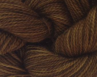 Merino Wool Yarn Lace Weight in Bean Brown Hand Painted