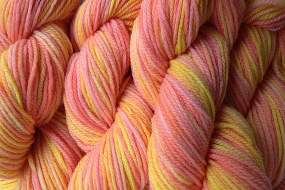 Merino Wool Yarn DK Sport Weight Handpainted Hand Dyed in Spring Melon