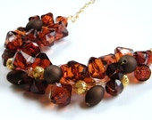 Brown Chunky Necklace, Statement Necklace, Brown and Gold Beaded Necklace, Crystal ACRYLIC, Bridesmaid Necklace, Brown Wedding Jewelry