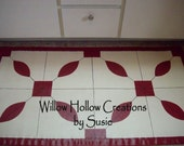 Red and White painted quilt floor cloth, FAAP Team, OFG Team