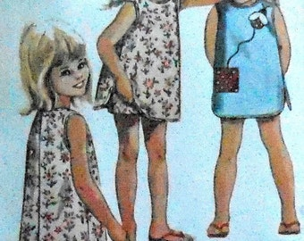 Vintage Back Button Girls Summer Dress with Matching Shorts Sewing Pattern McCalls 7221 Size 4 ladybug applique