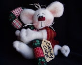 White Christmas Mouse Ornament with Candy Cane by Happy Valley Primitives