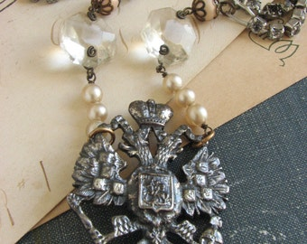 Stunning Shabby Chic Assemblage Necklace -repurposed vintage pearls crystals and brooch-